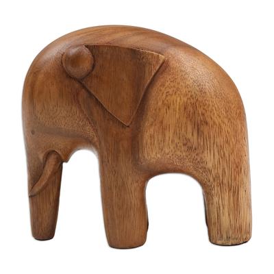Wood sculpture, 'Modern Elephant' - Artisan Crafted Wood Sculpture
