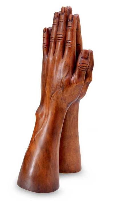 Wood statuette, 'Hands at Prayer' - Indonesian Wood Sculpture