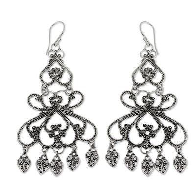 Sterling silver chandelier earrings, 'Her Elegance' - Indonesian Sterling Silver Chandelier Earrings