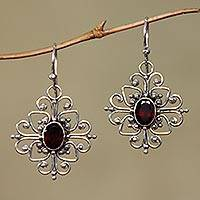 Garnet flower earrings, 'Radiant Blossom' - Hand Made Garnet and Sterling Silver Dangle Earrings