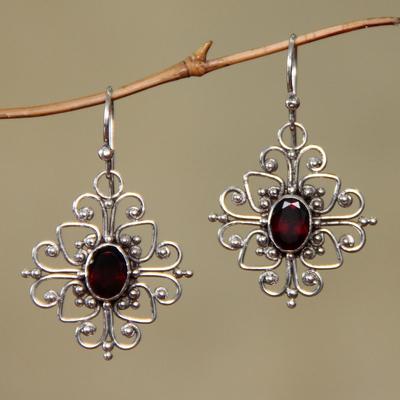 Garnet flower earrings, 'Radiant Blossom' - Hand Made Garnet and Sterling Silver Dangle Earrings