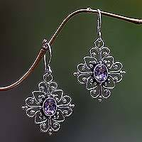 Amethyst flower earrings, 'Radiant Blossom'
