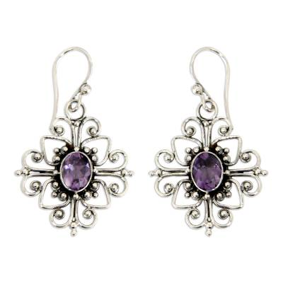 Amethyst flower earrings, 'Radiant Blossom' - Floral Sterling Silver and Amethyst Dangle Earrings