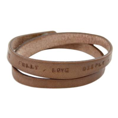 Leather wrap bracelet, 'Live Fully in Brown' - Unique Inspirational Leather Wrap Bracelet