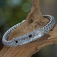 Men's onyx braided bracelet, 'Splendid Dragon' - Men's Onyx and Sterling Silver Heavy Bracelet from Bali