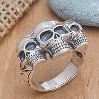 Men's sterling silver ring, 'Skull Trio'