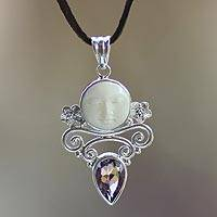 Amethyst and cow bone pendant necklace, 'Guardian Moon' - Amethyst and Cow Bone Leather Necklace from Java