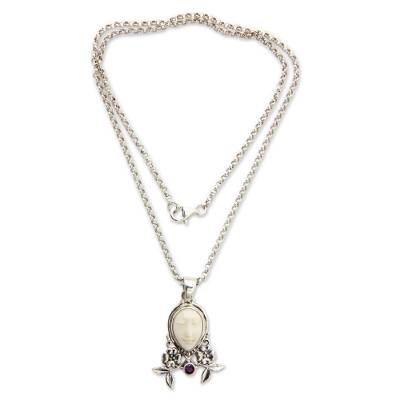 Amethyst and cow bone floral necklace, 'Mother Earth Sleeps' - Amethyst and Bone Pendant Necklace