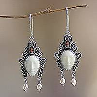 Pearl and garnet dangle earrings, 'Beautiful Dedes' - Sterling Silver Bone and Pearl Earrings