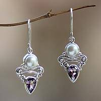 Pearl and amethyst dangle earrings, 'Guardian Moon' - Pearl Amethyst Sterling Silver Earrings