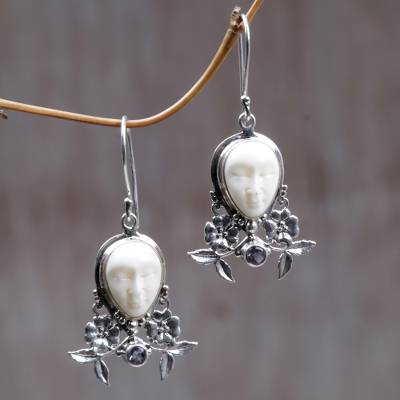 Amethyst and cow bone floral earrings, 'Mother Earth Sleeps' - Amethyst and Cow Bone Floral Earrings
