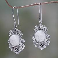 Cow bone flower earrings, 'Frangipani Moon' - Artisan Crafted Cow Bone and Sterling Silver Earrings