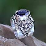 Floral Sterling Silver and Faceted Amethyst Ring from Bali, 'Lilac Frangipani'