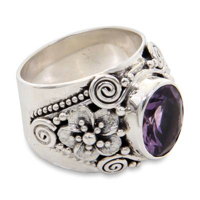 Amethyst cocktail ring, 'Lilac Frangipani' - Floral Sterling Silver and Faceted Amethyst Ring from Bali