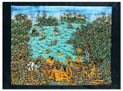 Batik art, 'Landscape of the Island of Bali' - Batik Wall Art