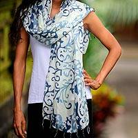 Silk batik shawl, 'Blue Jasmine Vines' - Handmade Batik Silk Patterned Shawl