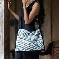 Cotton batik shoulder bag, 'Balinese Palm' - Unique Batik Cotton Palm Leaf Motif Sling Handbag