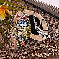Wood jewelry box, 'Twin Ladies' - Hand Crafted Floral Wood Jewelry Box