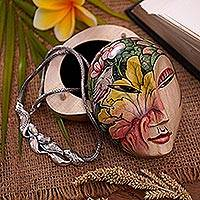 Wood jewelry box, 'Mysterious Lady' - Hand Painted Wood jewellery Box