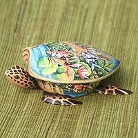 Wood jewelry box, 'Sea Turtle'