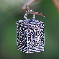 Sterling silver pendant, 'My Prayers' - Sterling Silver Prayer Box Pendant