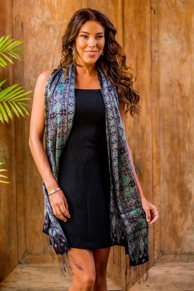 Silk batik shawl, 'Blue Sarangan' - Batik Silk Shawl Handmade in Indonesia