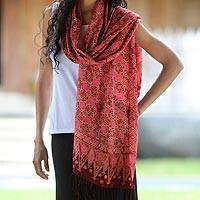 Silk batik shawl, 'Scarlet Lily' - Hand Made Indonesian Silk Shawl