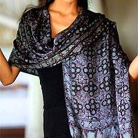 Batik silk shawl, 'Java Sea' - Batik Silk Shawl with Kawung Motifs from Bali