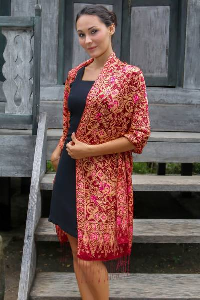Silk batik shawl, 'Jakarta Lady' - Artisan Crafted Geometric Silk Patterned Shawl