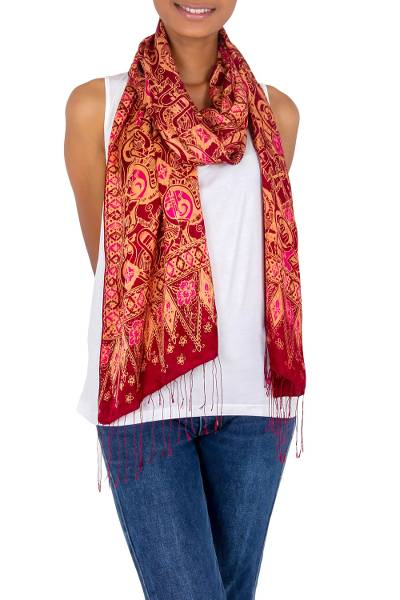 Silk batik shawl, 'Jakarta Lady' - Artisan Crafted Geometric Silk Patterned Shawl