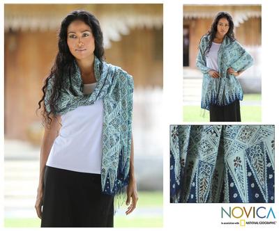 Silk batik shawl, 'Javanese Kingdom' - Silk batik shawl