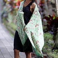 Silk batik shawl, 'Bogor Lady'