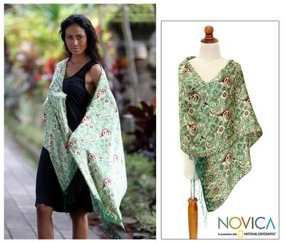 Silk batik shawl, 'Bogor Lady' - Handcrafted Indonesian Batik Silk Shawl
