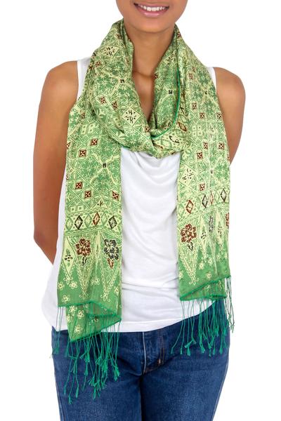 Silk batik shawl, 'Bogor Lady' - Handcrafted Indonesian Batik Silk Shawl