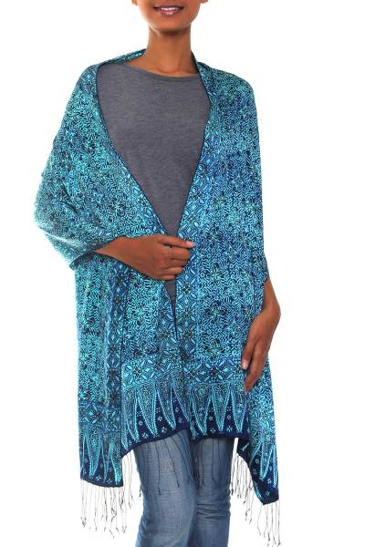 Silk batik shawl, 'Javanese Blue' - Handcrafted Floral Silk Shawl