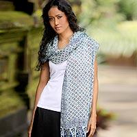 Silk batik shawl, 'Javanese Rosettes' - Silk batik shawl