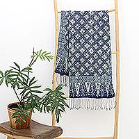 Silk batik shawl, 'Frangipani Floral' - Silk batik shawl