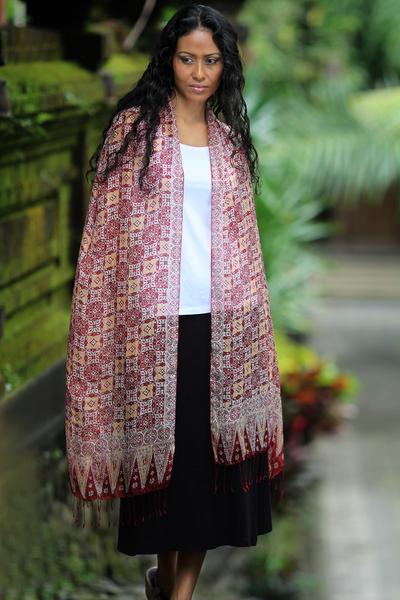 Silk batik shawl, 'Red Lotus Floral' - Hand Crafted Batik Silk Shawl