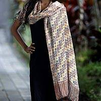 Silk batik shawl, 'Golden Lotus Floral' - Silk batik shawl