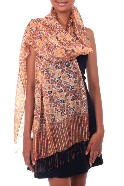 Silk batik shawl, 'Golden Lotus Floral' - Silk batik shawl