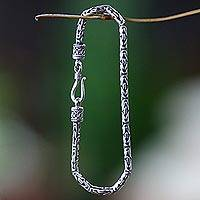 Sterling silver chain bracelet, 'Borobudur Collection' - Hand Made Sterling Silver Chain Bracelet