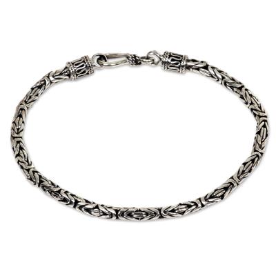 Sterling silver chain bracelet, 'Borobudur Collection' - Hand Made Sterling Silver Chain Bracelet