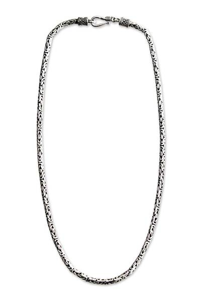 Sterling silver choker, 'Borobudur Collection' (16 inch) - Unique Sterling Silver Chain Necklace (16 Inch)