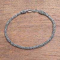 Men's Sterling silver chain bracelet, 'Borobudur Collection II'