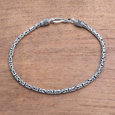 Men's Sterling silver chain bracelet, 'Borobudur Collection II' - Sterling Silver Chain Bracelet 925 Artisan Jewelry from Bali
