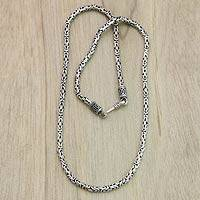 Sterling silver chain necklace, 'Borobudur Collection I' (18 inch)