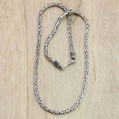 Sterling silver chain necklace, 'Borobudur Collection I' (18 inch) - Hand Made Sterling Silver Chain Necklace