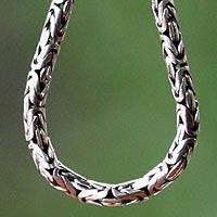 Sterling silver chain necklace, 'Borobudur Collection II' (20 inch) - Artisan Crafted Sterling Silver Chain Necklace