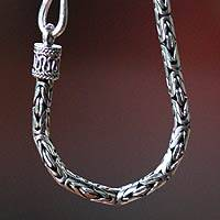 Sterling silver chain necklace, 'Borobudur Collection III' (24 inch) - Indonesian Sterling Silver Chain Necklace