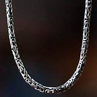 Sterling silver long chain necklace, 'Borobudur Collection II' (30 inch)